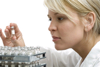 Clinical trials - Woman in lab