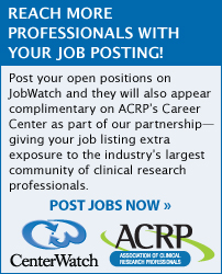 Reach more professionals with your job posting! Post your open positions on JobWatch and they will also appear complimentary on ACRP's Career Center as part of our partnership! Post your jobs now